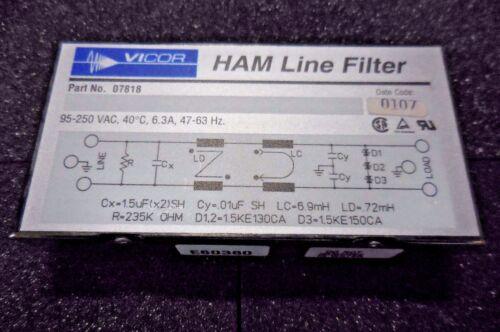 Vicor 07818 HAM Line Filter NEW 95-250 VAC, 40˚C, 6.3A, 47-63 Hz