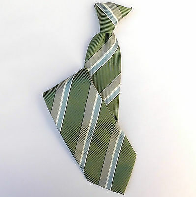 Green striped clip-on tie Snapper by Dennes Green grey beige stripes