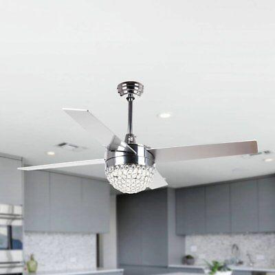 48 Quot Crystal Ceiling Fan Light Remote Control W Reversible Blade Chandelier Fan Ebay