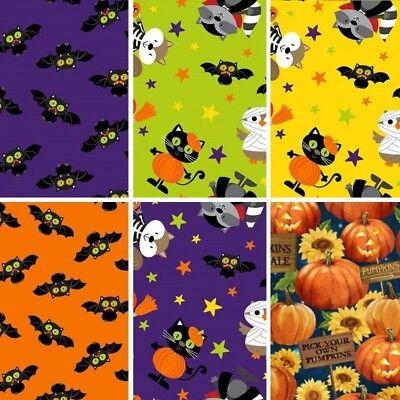 100/% Cotton Patchwork Fabric Northcott Halloween Woodland Aminals Owl Bat Racoon