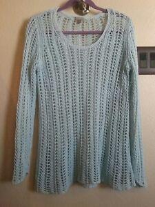 J Jill Crochet Pullover Sweater Tunic Baby Blue Open Weave
