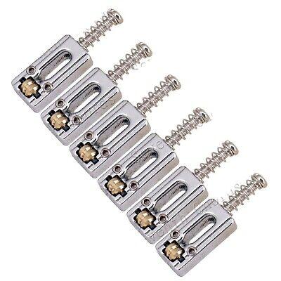 6x vintage roller saddle guitar bridge string saddles for electric guitar chrome ebay. Black Bedroom Furniture Sets. Home Design Ideas