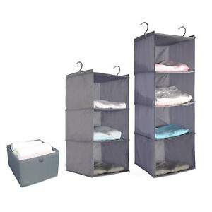 Clothes Hanging Bag Dust Cover Garment w//Hooks Wardrobe Storage Organizer 4Tiers