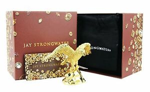JAY STRONGWATER DAVIS GOLDEN EAGLE FIGURINE 18K GOLD PLATED SWAROVSKI NEW BOX