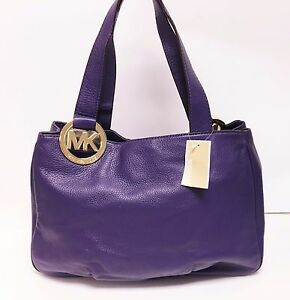 8d57918d346b Image is loading MICHAEL-KORS-FULTON-IRIS-PURPLE-LEATHER-LARGE-EW-