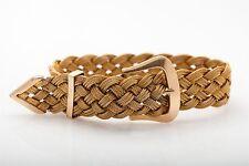 """Antique 1940s $5000 RETRO 14k Yellow Gold BELT BUCKLE Weave Bracelet  RARE 8"""""""