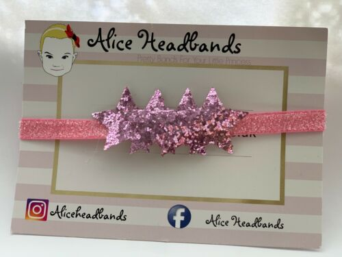 Lot Twinkle Star Girl Elastic Headband Bow Baby Sparkle Glitter Christmas