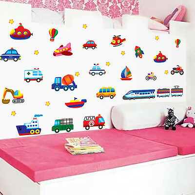 Cartoon Car Aircraft Ship DIY Vinyl Art 3D Wall Sticker For Kids Room Home Decor