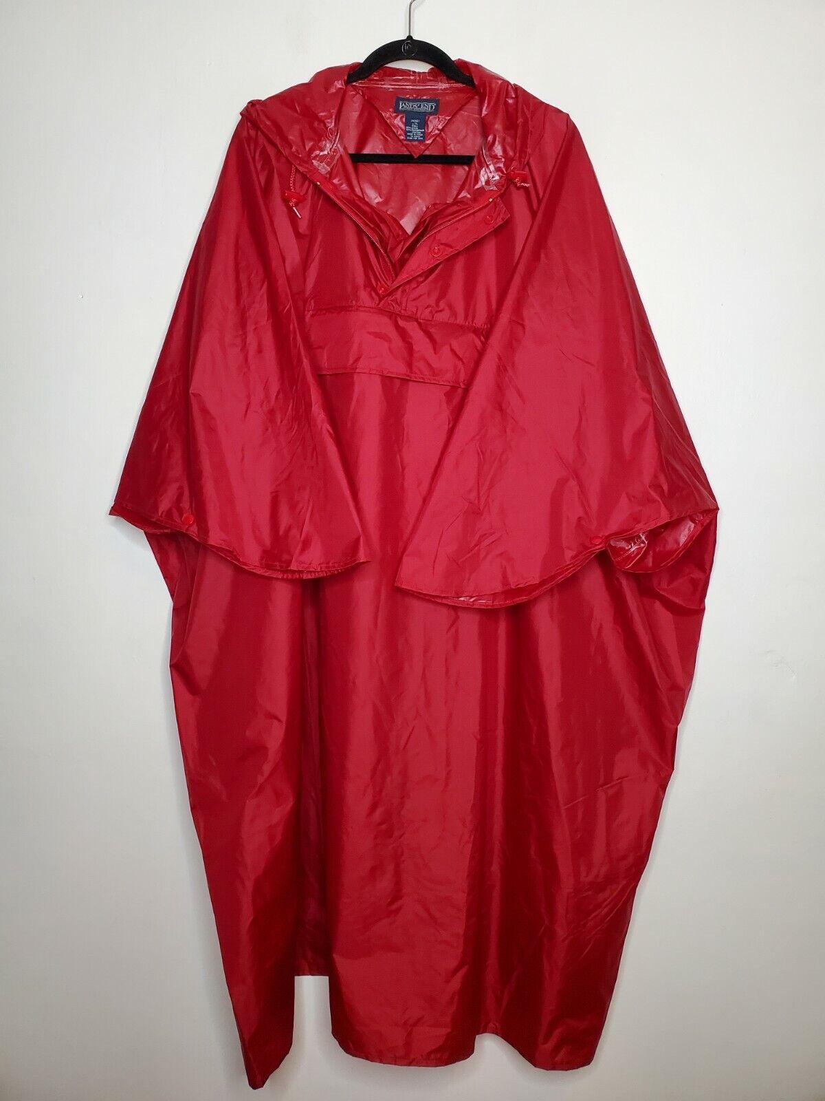 Lands End XL Deep Red Nylon Rain Gear Poncho unisex Underarm to underarm 36