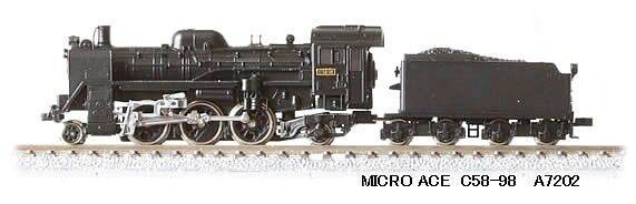 Micro Ace a7202 c58-98 japanese steam locomotive, n scale, ships from USA