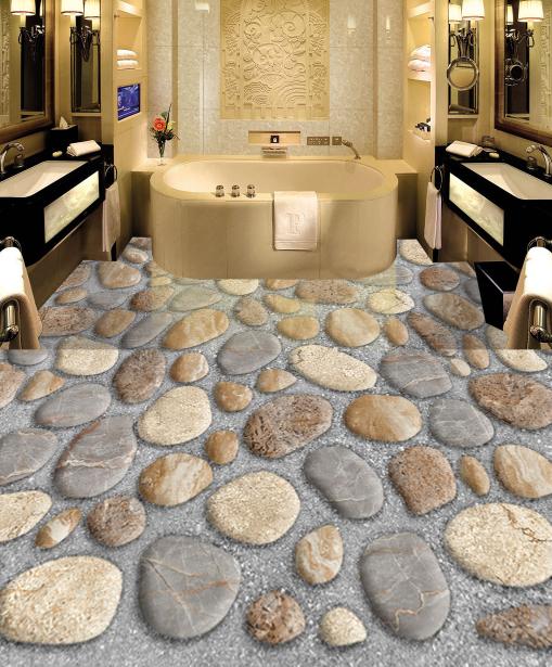 3D Cute Stones Road 4 Floor WallPaper Murals Wall Print 5D AJ WALLPAPER UK Lemon