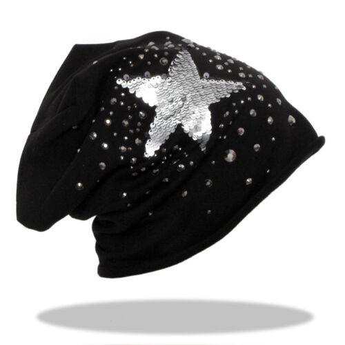 Baumwolle Beanie Mütze mit Star Sterne Strass Nieten Unisex Schwarz Grau NEU 218