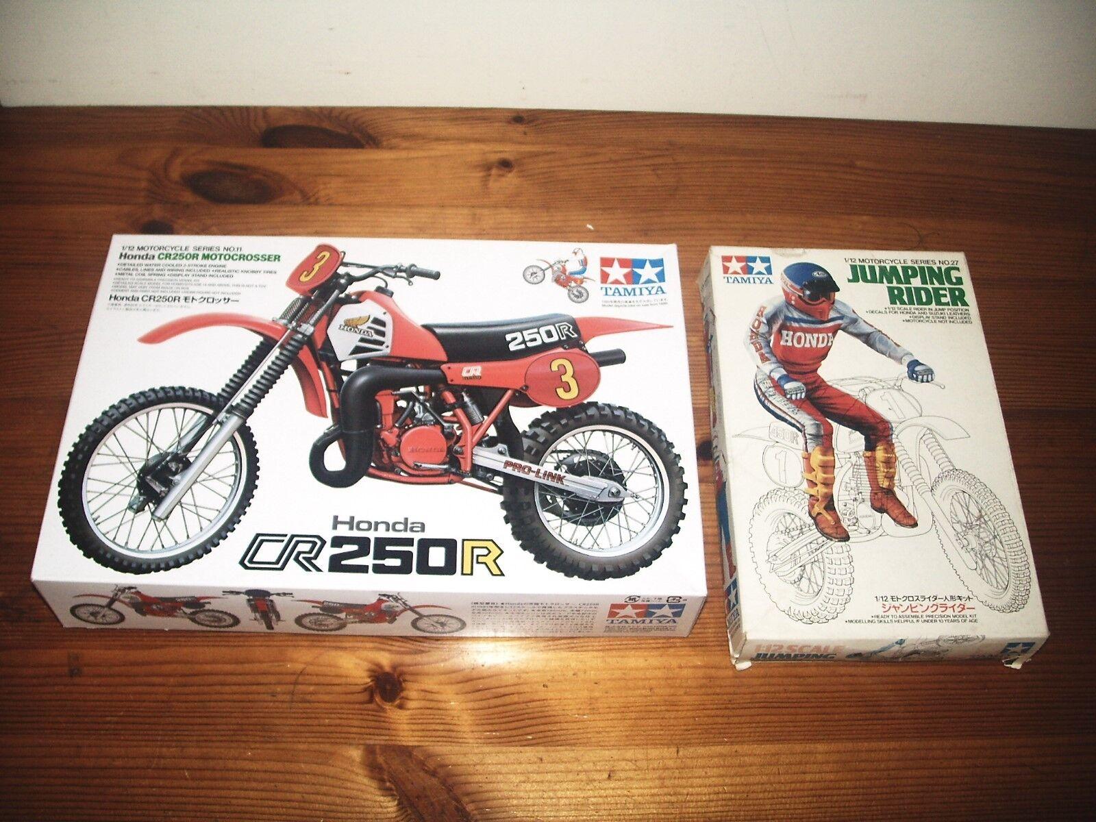 TAMIYA 1 12 HONDA CR250R MOTORCYCLE MODEL KIT 14011 + JUMPING RIDER