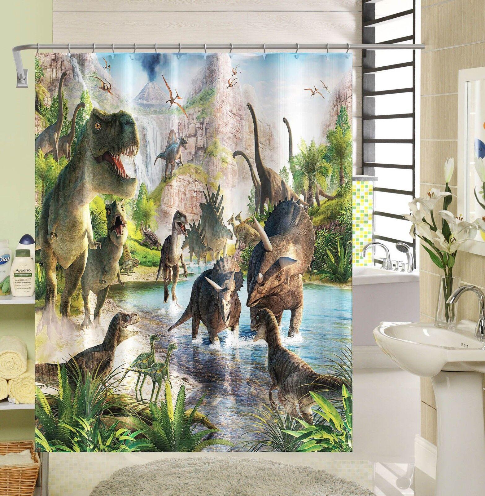 3D Dinosaure River 5 Rideau de Douche Imperméable Fibre Salle de Bain Home Windows Toilette