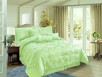 Green DAMASK 7pcs SUPER KING Jacquard Comforter Set