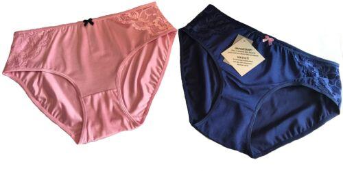 2 x Pack modèle de dentelle soutien Slips Bleu Marine//Rose taille plus 16 18