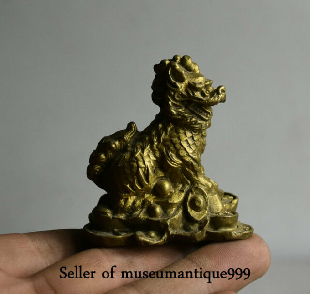 5.5CM Old Chinese Copper Bronze Feng Shui Dragon Qilin Beast Wealth Lucky Statue