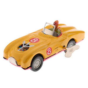 Vintage-Wind-Up-Roadster-Car-w-Key-Clockwork-Metal-Tin-Toy-Collectible-Gift