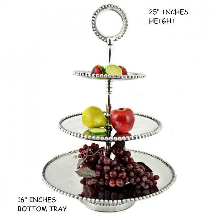 Étain 3 Niveaux Perlé stand de fruits western Home Decor Kitchen Art NEUF