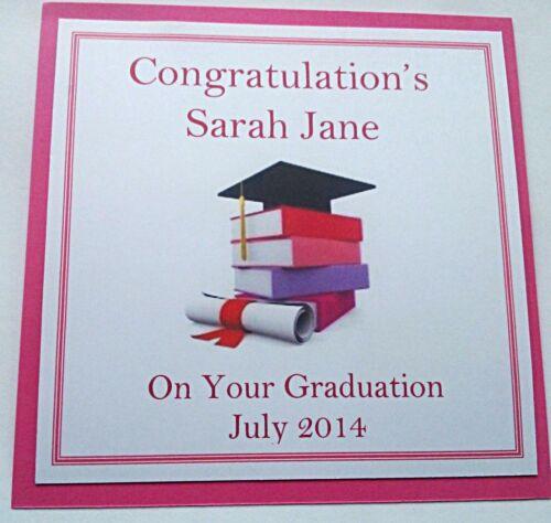 Personalised handmade graduation carte en rose