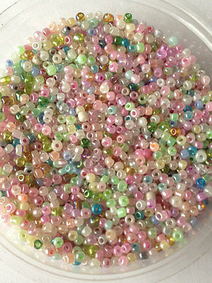 50g glass seed beads - Mixed Ceylon - approx 2mm (size 11/0) pastel colour mix