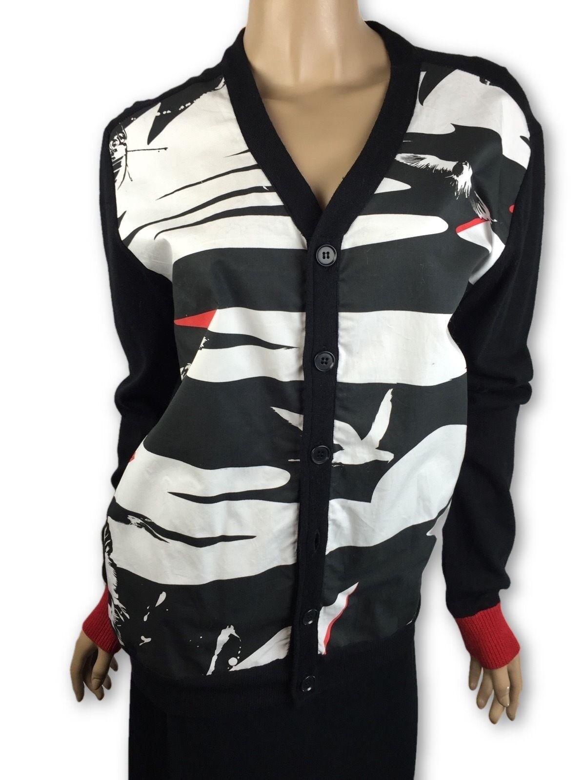 Yoshio Kubo Cardigan Top Jacket schwarz & Weiß Cotton Blend Button Front