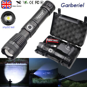 Super Bright High Power XHP50 Zoom Flashlight Tactical LED Rechargeable Torch UK