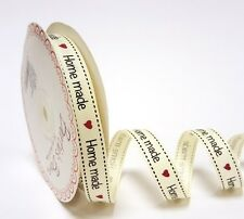 "2m Bertie's Bows Ivory ""Home Made"" Print 16mm Grosgrain Ribbon, Wrapping, Label"