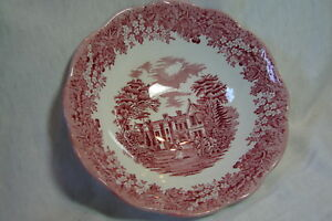Vintage-J-amp-G-Meakin-Romantic-England-Red-Chequers-Cereal-Bowl