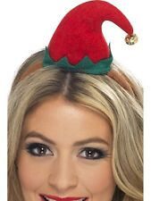 Christmas Mini Elf Hat On Head Band in Red & Green With a Bell