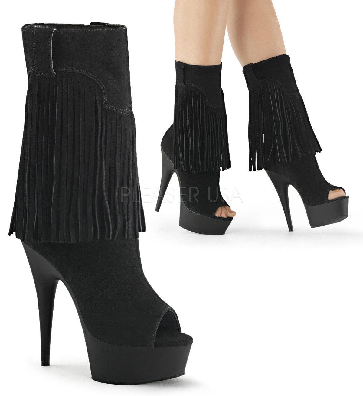 6  Negro Negro Negro Borlas Vaquero Vaquera Disfraz De Plataforma Bailarín Stripper botas Tacones 8 9  Las ventas en línea ahorran un 70%.