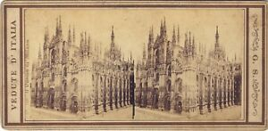 100% De Qualité Cathédrale De Milan Milano Italie Italia Stereo G. S. Albumine Ca 1870 Service Durable