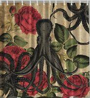 Octopus Roses Fabric SHOWER CURTAIN Floral Kraken Flowers Tentacles Sealife Bath