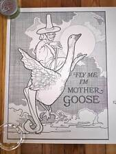 1974 BELLEROPHON BOOKS Mother Goose Humpty Dumpty Adult Coloring Book Poster