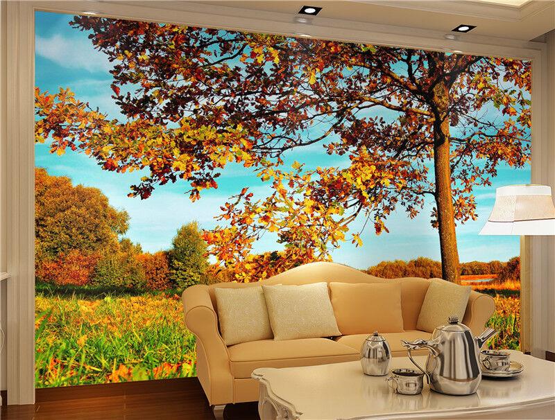 3D Herbst Baum Landschaft 943 Tapete Wandgemälde Tapeten Bild Familie DE Lemon