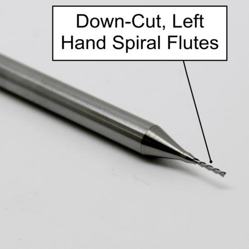 ".020/"" 0.50mm x .098/"" Down Cut Left Spiral End Mill Two Flute Made in USA  M151"