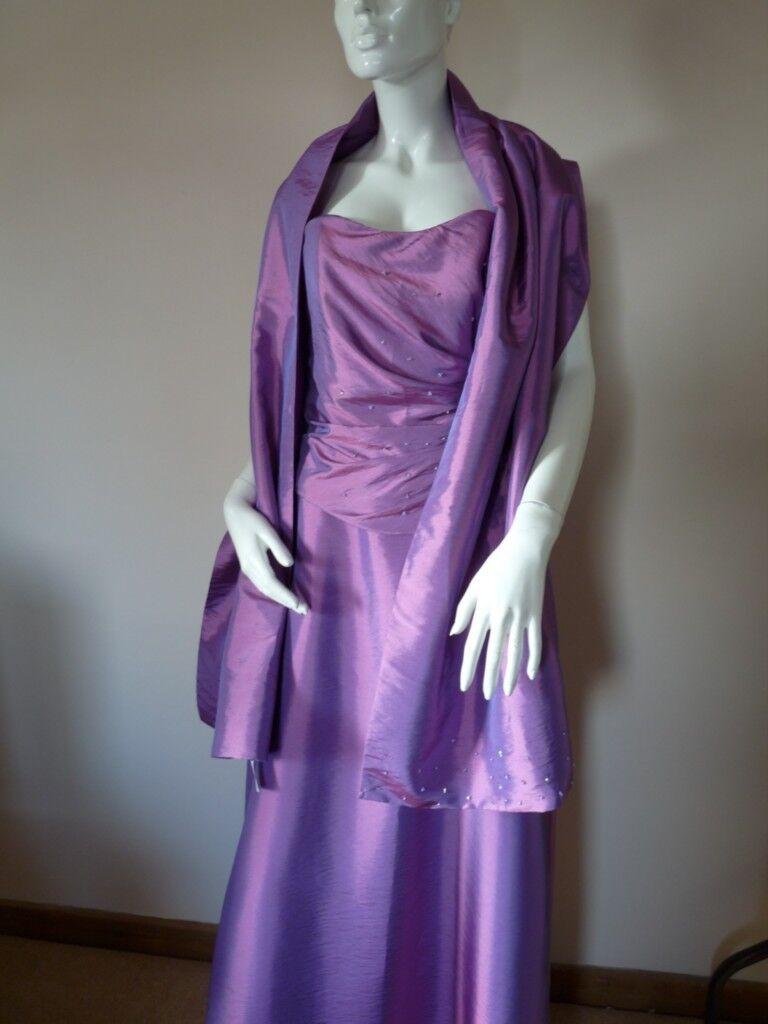 ETERNITY BRIDAL PROM EVENING PURPLE LONG DRESS & WRAP   12   BNWT