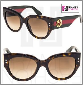 acecace24bd Image is loading GUCCI-GG3864S-Red-Green-Brown-Havana-Gradient-Women-