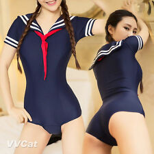 New Student Cosplay Japanese Sukumizu Sailor Suit Transparent One-Piece Swimwear