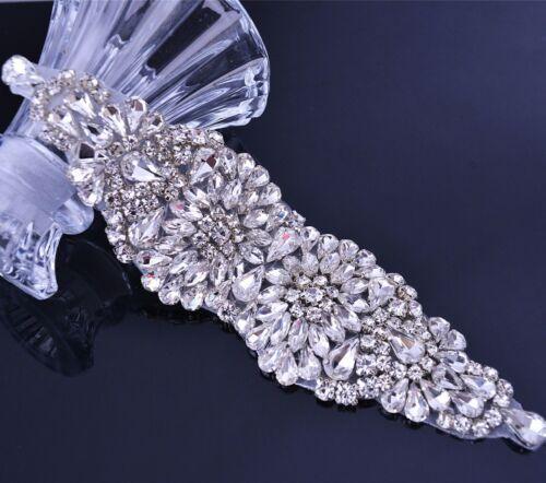Bling Rhinestone Applique Sash belt Motif Wedding Belt Appliques Crystal Bouquet