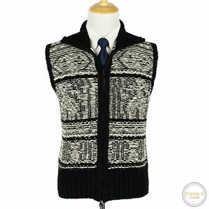 Brooks-Brothers-Black-Fleece-Black-White-Wool-Intarsia-Ireland-Sweater-Vest-L