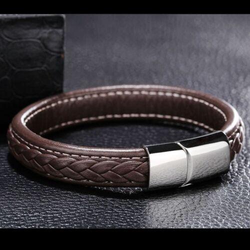 Genuine Leather Men Bracelet Punk Titanium Steel Bracelet  Bangles Brown Chic
