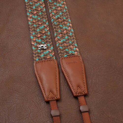 Brown//Mint//Orange Woven Cotton DSLR Camera Neck Strap by Cam-in