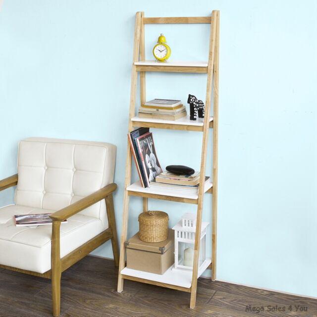 Folding Retro Ladder Shelves Wood Bookcase Display Storage Unit Living Room New