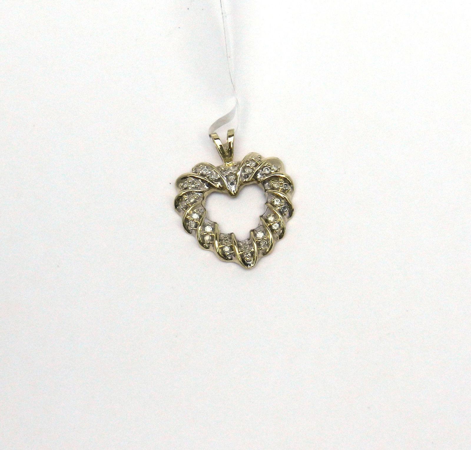 BEAUTIFUL DIAMONDS 10K gold OPEN HEART PENDANT  NIB   J134