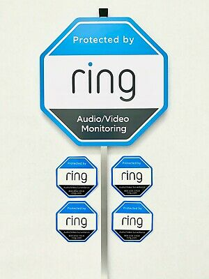 Home Ring Security Yard Sign 4 Double Sided Window//Door Sticker w// Aluminum Pole