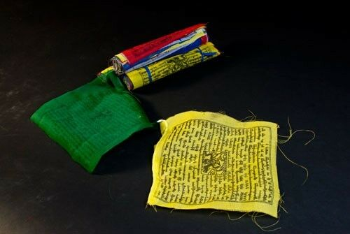 Fähnchen je 23x23 cm Tibetische Gebetsfahnen mittel aus Polyester mehrfarbig