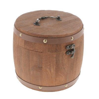 Vintage Big Wooden Tea Caddy Airtight Sealed Canister Food Storage Jar/_S