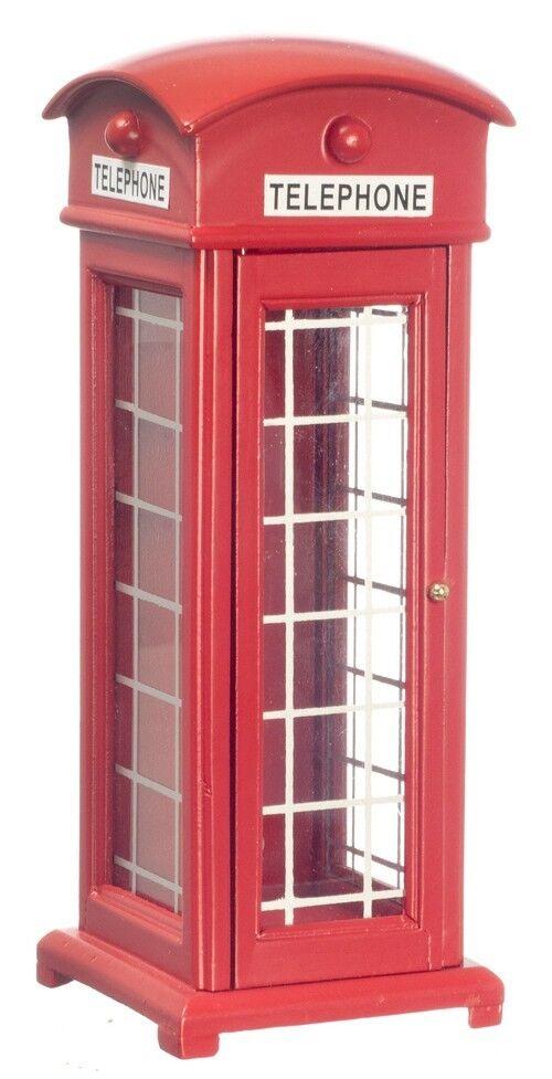 Dollhouse Phone Miniature - ROT Phone Dollhouse Booth English Style Wood Telephone aad9b0
