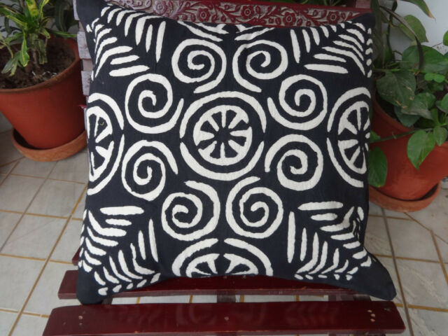 Set of 5 Cutwork Cushion Covers Hand Applique Work Pillow cases Decorative Shams